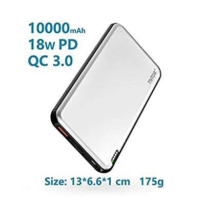 TNTOR 10000mAh Portable Charger, USB-C Power Bank with 18W PD and Quick Charge 3.0, Aluminum shell with Ultra Slim Design for iPhone iPad Samsung Galaxy (Silver)