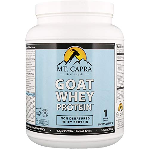 Mt. Capra Goat Whey Protein | Grass-Fed Undenatured Whey Protein Powder from Pastured Goats, High in Branch Chain Amino Acids, Unsweetened - 1 Pound