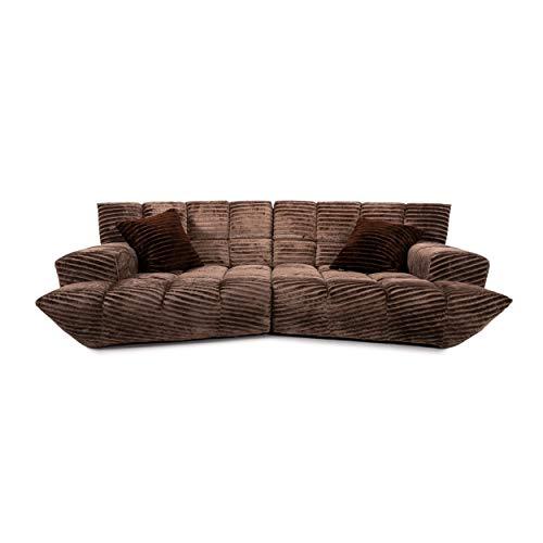 Bretz Cloud 7 Velvet Fabric Corner Sofa Brown Sofa Couch Modular