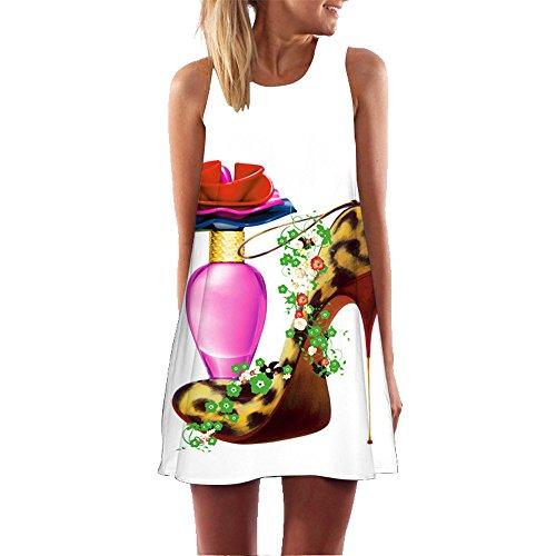 Momoxi Damen Sommer Kleid Casual besonderes Minikleid Damen Sommerkleid Damen Sommerkleid lang Rock lang Sommer Kleid Kleider Vintage 50er v-Ausschnitt Damen Kleider Sommer Weiß0 XXL