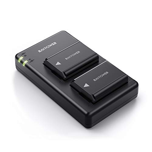 RAVPower NP FW50 Akku (2 Stück) und USB Ladegerät für Sony Alpha 7 / 7 ii / 6000 / 6400 / 6500 / 6300 / 5100 NEX-7 NEX-6 NEX-F3 NEX-3 Nex-5 NEX-5N NEX-5T SLT A55V A33 A35 A37 usw, Ersatzakkus 1100mAh