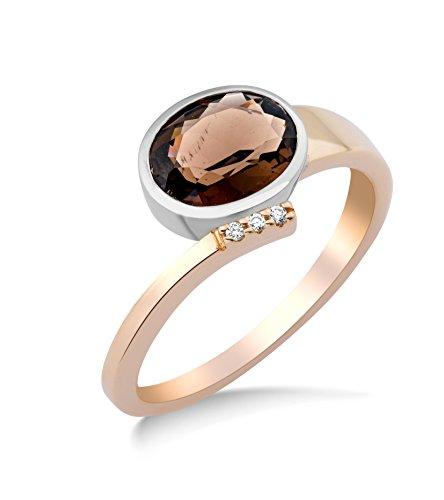 Miore anillo con cuarzo ahumado 1.50 quilates y diamantes naturales en oro bicolor de 14 quilates 587