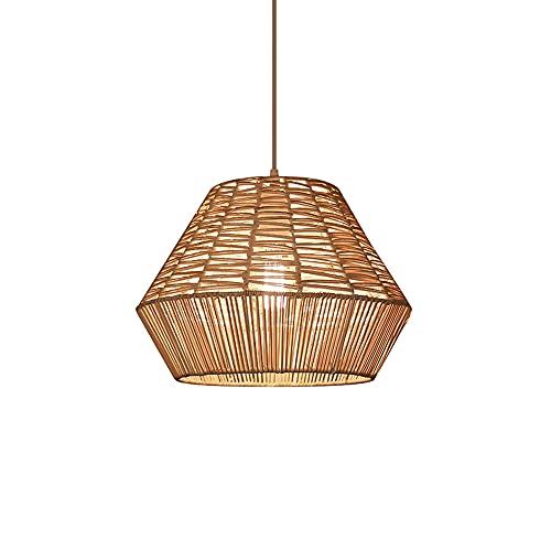 Boilyn American Village Rattan Weaving Art Luces Colgantes Techo japonesas Creativo Pastoral Restaurante Suspensión Accesorios iluminación Lámparas Colgantes bambú Lámparas Mimbre Lámpara