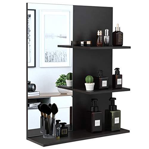 RELAX4LIFE Spiegelschrank, Badezimmerschrank mit Spiegel, Wandschrank mit 3 Ablagen, Platzsparender Hängeschrank für Badezimmer & Garderobe, Wandspiegel belastbar bis 11 kg, 57 x 17 x 72 cm, grau