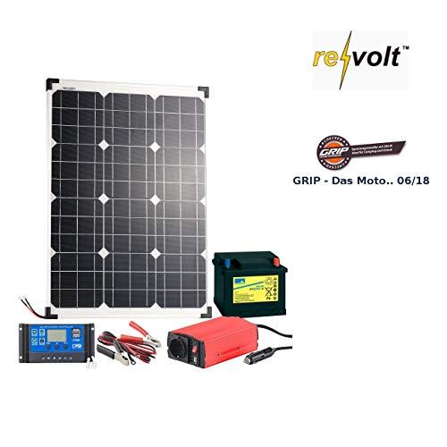 revolt Solarpanel Set: Solarpanel (50 W) mit Blei-Akku, Laderegler & Wechselrichter (Solaranlagen)