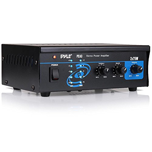 Pyle Home Audio Power Amplifier System - 2X75W Mini Portable Dual Channel Surround Sound Stereo Receiver Box w/ LED - For Amplified Subwoofer Speakers, CD DVD Player, Theater Via 3.5mm RCA PCA3