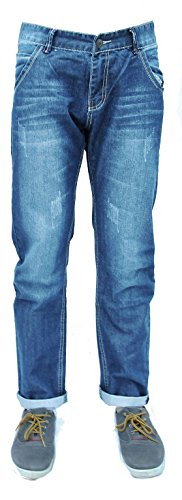 Forever Jonge Mens Klassieke Rechte Been Jeans Ontwerper Distressed Ripped Slim Regular Fit Stretch Rechte Been Jeans