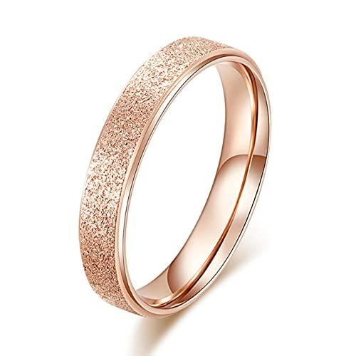 Moda Simple Scrub Anillos de mujer de acero inoxidable Regalo de dedo de 2 mm de ancho para niña Jewelry-6, C
