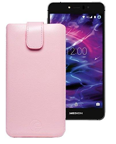 Original Favory Etui Tasche für Medion Life P5006 | Medion Life E5006 Leder Etui Handytasche Ledertasche Schutzhülle Hülle Hülle Lasche mit Rückzugfunktion* in rosa
