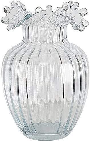 Jarrón de cristal transparente nórdico con flores hidroponía esmerilada para centros de mesa, hogar, sala de estar, oficina, boda, decoración (color: rosa, tamaño: L) (color: transparente, tamaño: L)