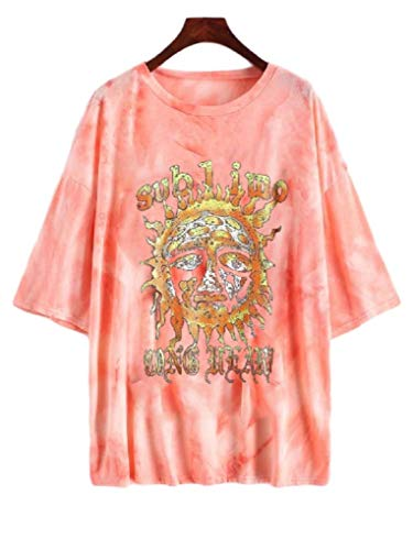 Fenxxxl Women's Short Sleeve Sublime Sun Oversized tee Graphic t Shirts tie dye Shirt Loose Casual Summer Tops Tunic F491-297-Pink L