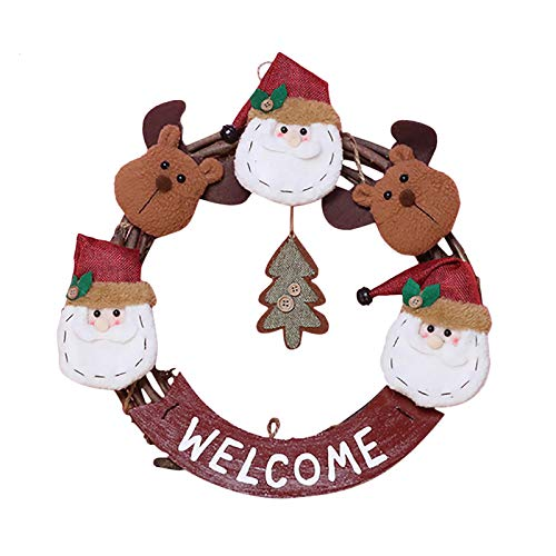 Fasclot Home Decor Merry Christmas Wreath Door Wall Ornament Garland Decoration