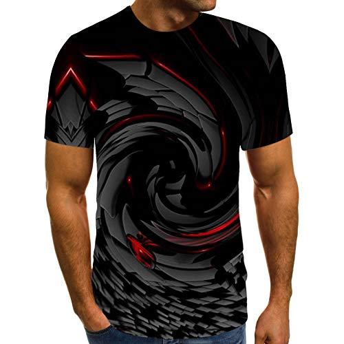 Masrin Herren T-Shirt Frühling Sommer Lässig Fantasy Motiv Tops Schlanke 3D Tie-Dye Bedruckte Pullover Kurzarm O-Ausschnitt Bluse (XL,Schwarz)