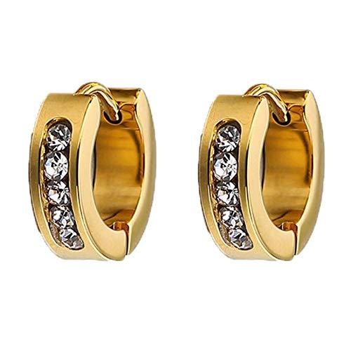 Gymqian Novedad Pendiente de joyería de acero inoxidable para mujer Pendientes de aro de circonio cúbico Huggies/Oro + Cz cuadrado