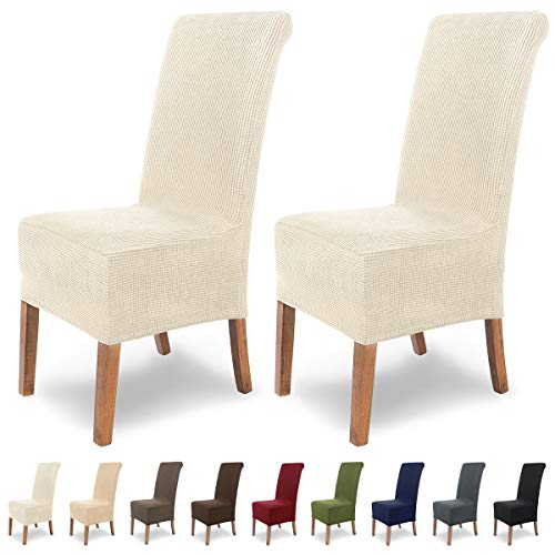 Scheffler-Home Sofia Stretch stoelhoezen, 2-delige set, elastische stoelhoezen, flanel spanhoes met elastiek, elegante stoelhoezen