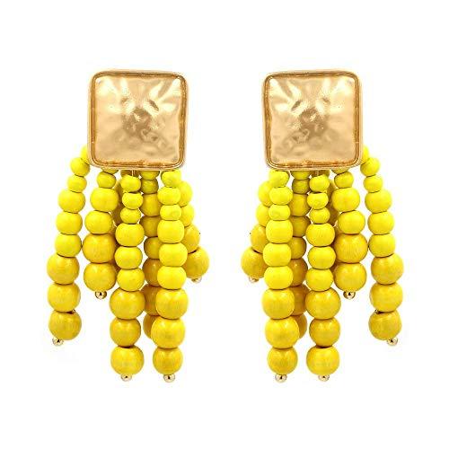 Thumby Frau Wild Ohrringe/Schlenker/Ohrstecker, Mode Böhmischen Gelben Holz Ball Quaste Ohrringe, Übertrieben Lange Perlen Ohrringe