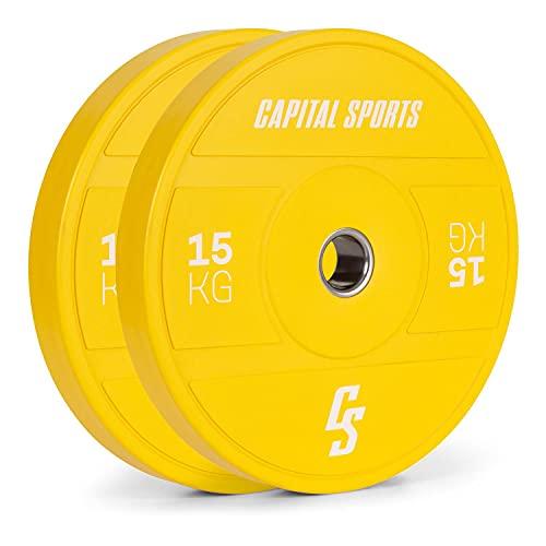 CapitalSports Nipton 2021 - Discos de Peso, Goma Dura, Anillo Interior de Acero, Apertura de 50,4 mm, Color según Normas olímpicas, 2 x 15 Kg, Amarillo