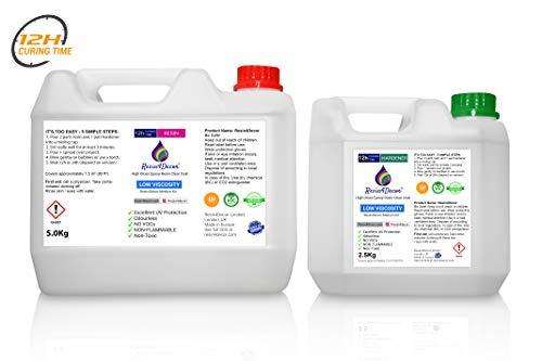 Resina epoxi secado rápido 12 horas de alta calidad una capa transparente Art Resin Resin4Decor 7,5kg
