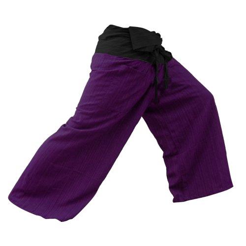 kittiya 2 TONE Thai Fisherman Pants Yoga Trousers FREE SIZE Plus Size Cotton Drill Striped Charcoal and Purple