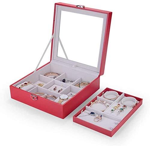 Jewelry Box for Women, Jewelry Box Organizer para Mujeres Chicas, Caja de almacenamiento de exhibición de joyas de dos capas con bloqueo de espejo para pendientes Brazaletes Anillos Relojes Trinket de