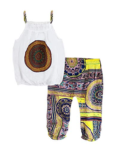 Toddler Baby Girls Summer Clothes Vest Floral Harem Pants 2PCS National Ethnic Style Outfits Set 5-6T Yellow