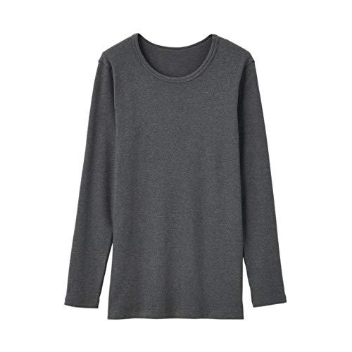 無印良品 アンダーウェア 綿とウールで真冬もあったかクルーネック長袖Tシャツ メンズ チャコールグレー S