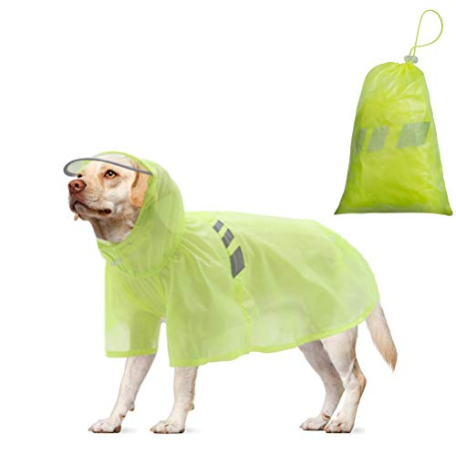BINGPET Dog Raincoat for Medium Dogs - Waterproof Pet Rain Jacket with Hood