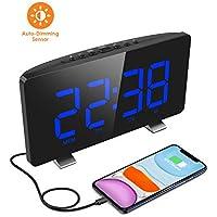 ELEGIANT Despertador Digital, Radio Reloj Despertadores Digitales, Pantalla LED, Atenuador Automático, 4 Brillos, Alarma Dual, 12/24 Hora, USB Puerto Carga, Snooze