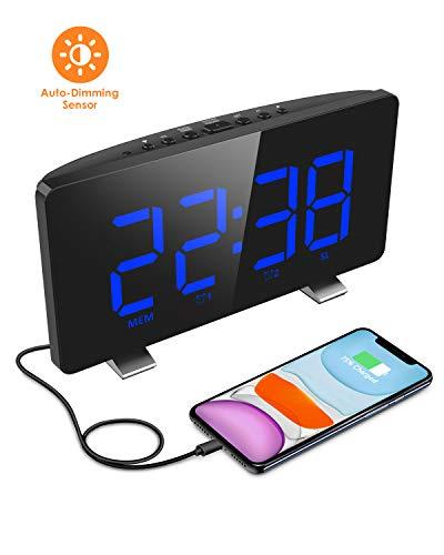 ELEGIANT Radiowekker, digitale wekker, tafelklok met groot LED-display, automatische dimmer, 4 helderheidsniveaus, FM-radio, sleeptimer, dual alarm, sluimer, USB-oplaadpoort, back-up batterij