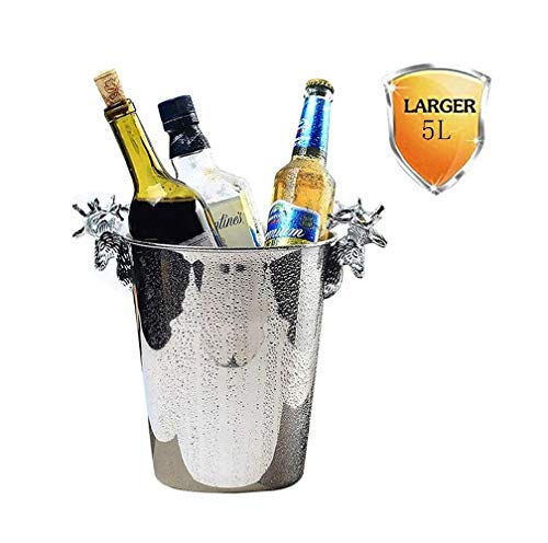 SMSOM Round Beverage Tub - 5L Stainless Steel - Ice Bucket - Metal Drink Cooler - House Party - Handles Small Container (Color : Silver, Size : Large)