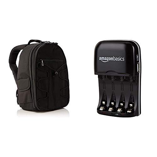 Amazon Basics- Zaino per fotocamera SLR + accessori, colore: Nero & Amazon Basics - Carica batterie con porta USB per batterie Ni-MH AA e AAA