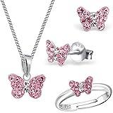Set da bambina con ciondolo a forma di farfalla e ciondolo + collana + orecchini in vero argento 925 e Argento Sterling, cod. KR-0L09-13