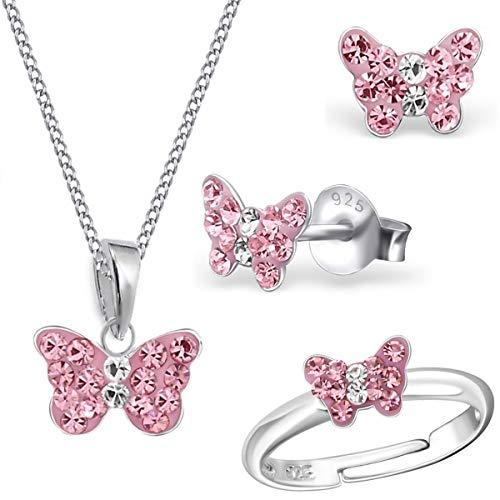 Mini Rosa Kristall Schmetterling Ring + Anhänger + Halskette + Ohrstecker 925 Echt Silber Mädchen Kinder Set (38)