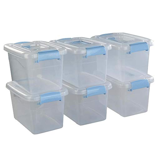 Doryh 5 L Plastic Storage Bin with Lid Clear Transparent Box With Handles Set of 6