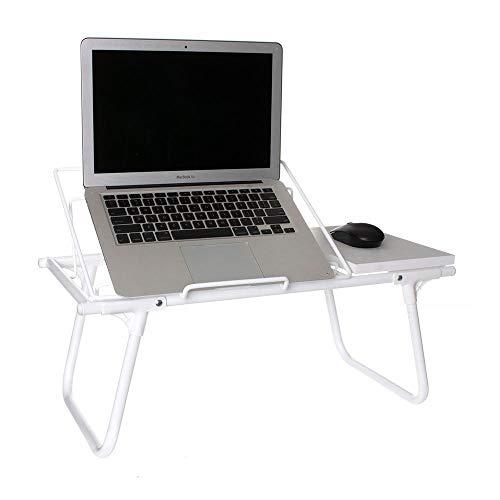 Mesa de Colo Dobrável para Notebook Aramado c/Suporte p/Mouse em Madeira Branco