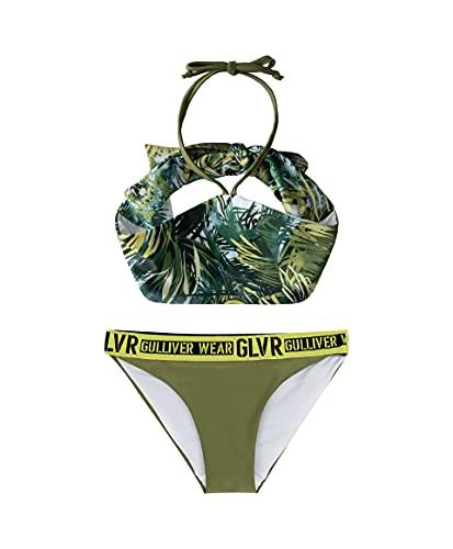 GULLIVER Mädchen Bikini Set 2 Teiler Badeanzug Grün Blumen Kinder Sommer Elastisch für Kids 146 * 152