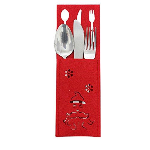 SOMESUN 3 Stück Weihnachten Besteck Tasche Lebensmittelqualität Edelstahl Messer Gabel Löffel Geschenk Besteckset Mit Papiertüte Hause Küche Familie Abendessen Metall Geschirr Set