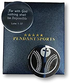 Athletes Prayer Medallion Presented in Stylish Gift Box. with an Inspiring Luke 1:37 Bible Verse on Back. Available in Baseball, Basketball, Football, Hockey and Soccer.