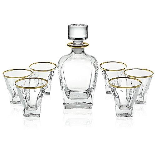Elegant Manhattan Style Crystal Liquor Whiskey and Wine Decanter Set. Irish Cut 7 Piece Set 1 Decanter. 6 Old Fashioned 6 Oz DOF Glasses with 24k Gold Trim (Paris Style)