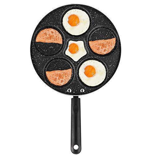 Sartén antiadherente 5 sartenes para huevos Sartén de cocina multifunción, sartén para tortillas, sartén para panqueques, sartén para paletas, sartén sueca para el desayuno sándwich de muffin