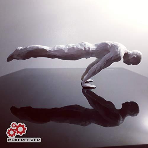 MAKERFEVER Statua Calisthenics in Stampa 3D - Motivatore da scrivania - Full Planche (Man White)