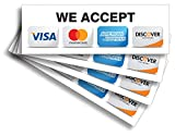 """Credit Card Sticker Signs Stickers – 4 Pack 9""""x 3"""" Inch - We Accept Visa, MasterCard, Amex & Discover, Premium Self-Adhesive Vinyl, Laminated, UV, Weather, Scratch, Water and Fade Resistance"""