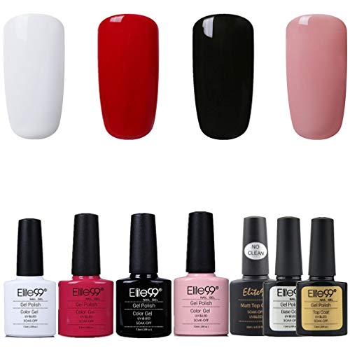 Elite99 Esmalte de Uñas Semipermanente Uñas de Gel UV LED Kit de Manicura 7pcs con Base...