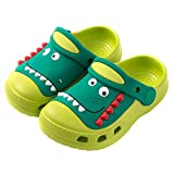 Maybolury Kids Dinosaur Clogs Slippers Shoes,Boys Girls Lightweight Garden Shoes Non-Slip Beach Pool Sandals Slip-on Indoor Outdoor Sippers Green