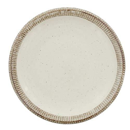 ナチュラルな色合いの大皿は一緒に使う和食器とも組み合わせしやすいく、食卓もほっこりした雰囲気に。同シリーズの小皿と合わせて使っても素敵です。直径24.2cm、高さ2.9cm。電子レンジ、食洗器OK。オーブン不可。美濃焼。
