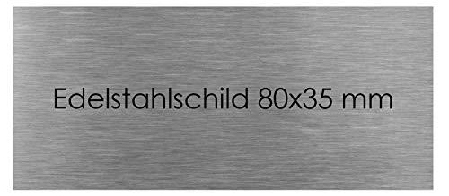 Türschild Edelstahl mit Lasergravur Namenschild Schild selbstklebend Büroschild (80 X 35 mm) Klingelschild Klingelplatte Briefkastenschild Briefkasten