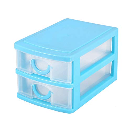 Caja de almacenamiento de maquillaje no tóxica, duradera, para habitación, mesa(2 layers of blue)