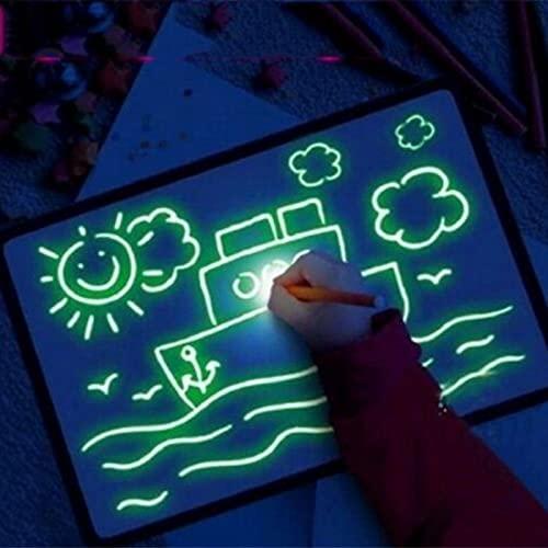 WJY Pizarra Luminosa para Niños, Dibujar, Dibujar, Garabatear, Arte Pizarra Magica LED Tablets de Escritura Tablero de Escritura Fluorescente Draw with Light Toy (Size : A5)
