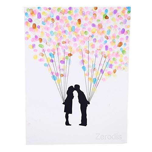 Zerodis DIY Hochzeit Fingerabdruck Baum Leinwand Unterschrift Gästebuch Mit 6 Farben Tinte für Hochzeit Geburtstag Party(HK007)