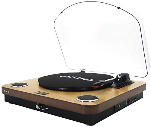 AIWA GBTUR-120WD (UK) Wooden All in one Turntable / Music Centre wireless Bluetooth / Radio / Built...